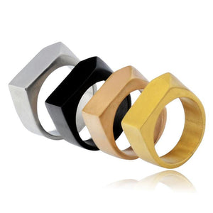 Geometric Shape Simple Biker Ring (size 7-12)