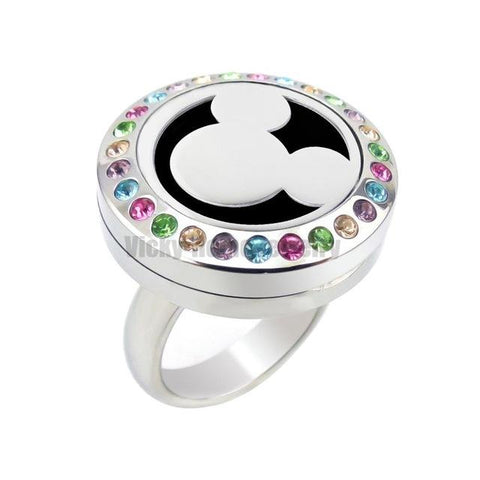 Rhinestones Locket Ring (size 5-10)