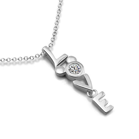 925 Sterling Silver LOVE a Glamorous Necklace