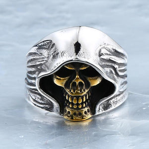 Hooded Skull Biker Ring (Size 7-13)