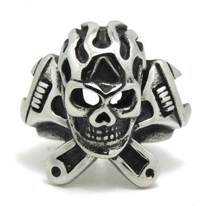 Skull & Wrenches Biker Ring (size 8-13)