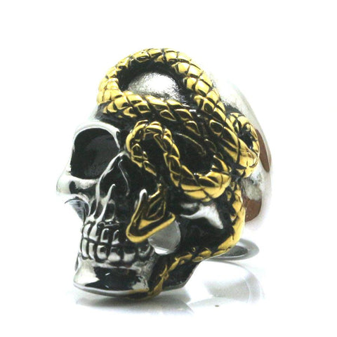 Stainless Steel Slithering Snake on Skull Biker Ring