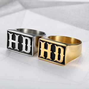 HD Golden or Silver Biker Ring (sizes 7-13)