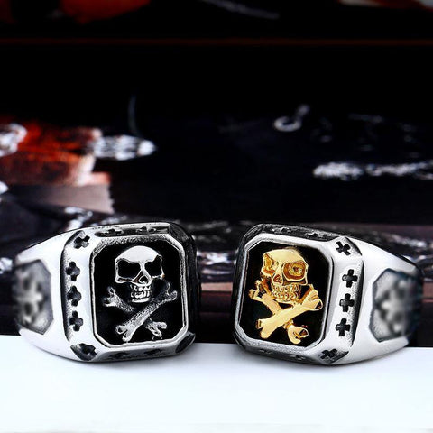 Golden Pirate Biker Ring (sizes 7-13)