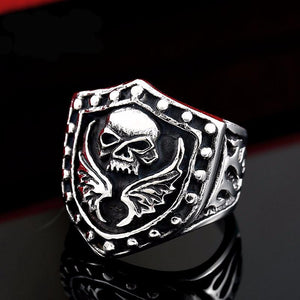 Stainless Steel Skull Wings Biker Ring (sizes 7-13) - Shopy Bay