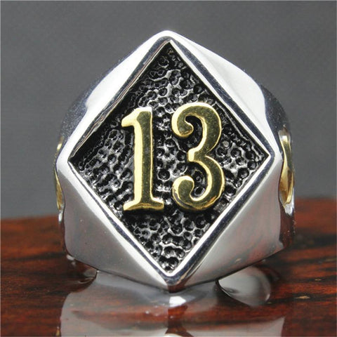 Stainless Steel Silver 13 Biker Ring (sizes 8-15)