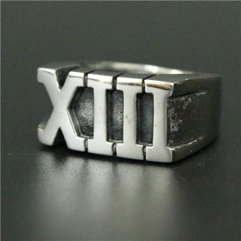 13 Roman Numeral Biker Ring (Size 7-14)