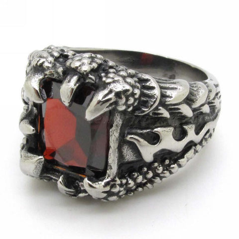 Dragon Catches Ruby Biker Ring (size 8-13)