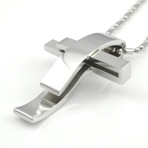 Stainless Steel Wave Cross Necklace