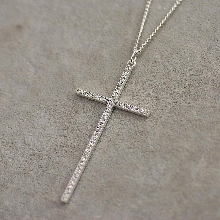Long Rhinestone Women's Cross Necklace - Shopy Bay