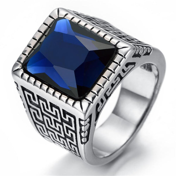 Men's Blue Crystal Stainless Steel Biker Ring (sizes 8-13) - Shopy Bay