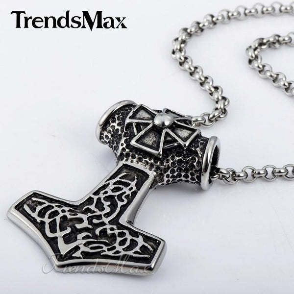 Stainless Steel Norse Celtic Knot Viking Goat Horn Thor's Hammer - Shopy Bay
