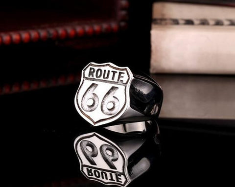 Route 66 Stainless Steel Biker Ring (sizes 7-13)
