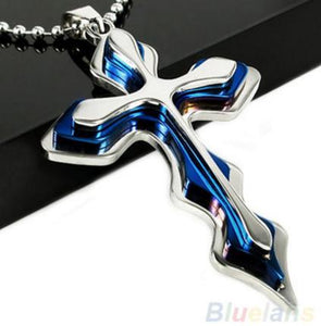 Silver Blue Stainless Steel Cross Necklace - Shopy Bay