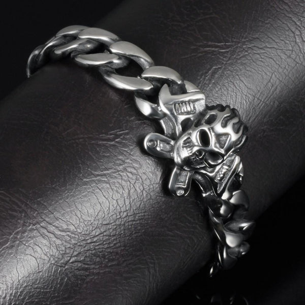 Skull Stainless Heavy Biker Bracelet - Shopy Bay