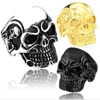 Stainless Steel Big Skull Biker Ring (sizes 7-14)