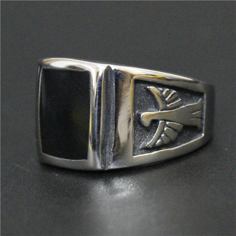 Stainless Steel Black Eagle Biker Ring (sizes 7-13)