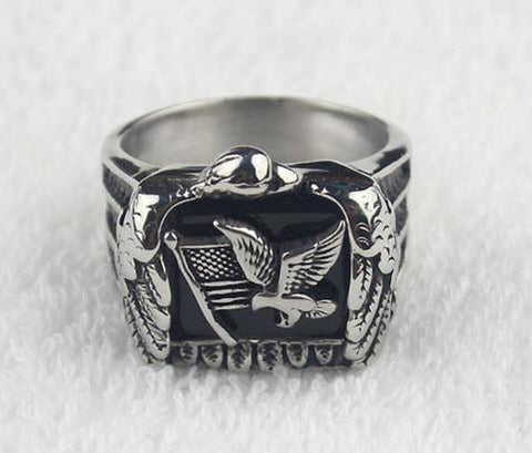 Stainless Steel Eagle Flag Solid Biker Ring (sizes 8-15) *