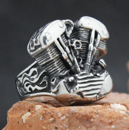 Stainless Steel Engine Biker Ring (sizes 8-13)