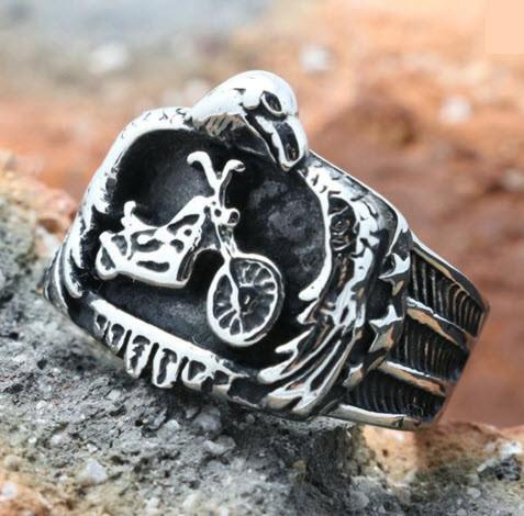 Stainless Steel Motorcycle Biker Ring  (sizes 8-15)