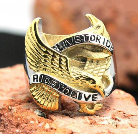 "Stainless Steel ""Ride To Live"" Eagle Biker Ring (sizes 8-14)"