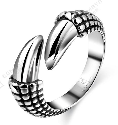 Stainless Steel Silver Dragon Claw Biker Ring (sizes 8 -11)