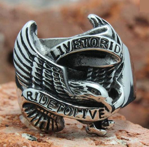 "Stainless Steel Silver ""Ride To Live"" Eagle Biker Ring  (sizes 8-14)"