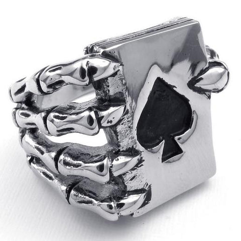 Stainless Steel Talon Catch Poker Ace Ring (sizes 7-13)