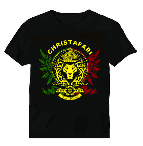 [T-Shirt]: BLACK - Men's Christafari - Regal Lion Wings - Red, Gold & Green