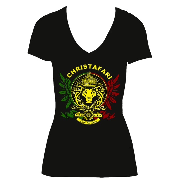 [T-Shirt]: BLACK Women's Christafari V-neck Regal Lion with Red, Gold and Green