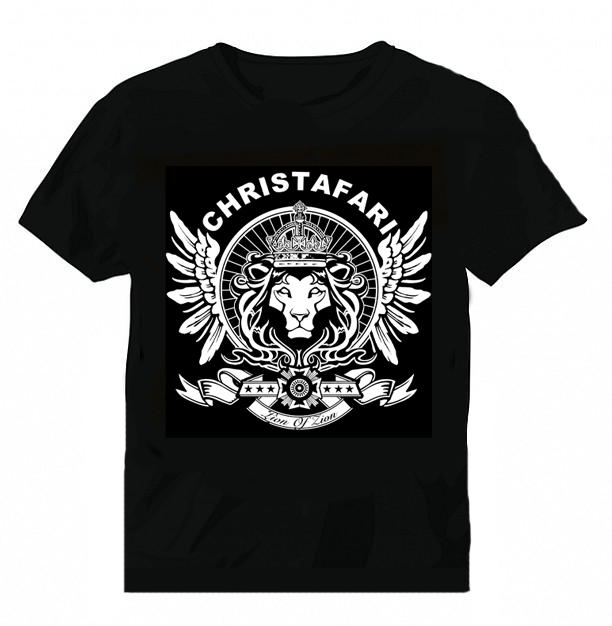 [T-Shirt]: BLACK - Men's Christafari - Regal Lion Wings - White