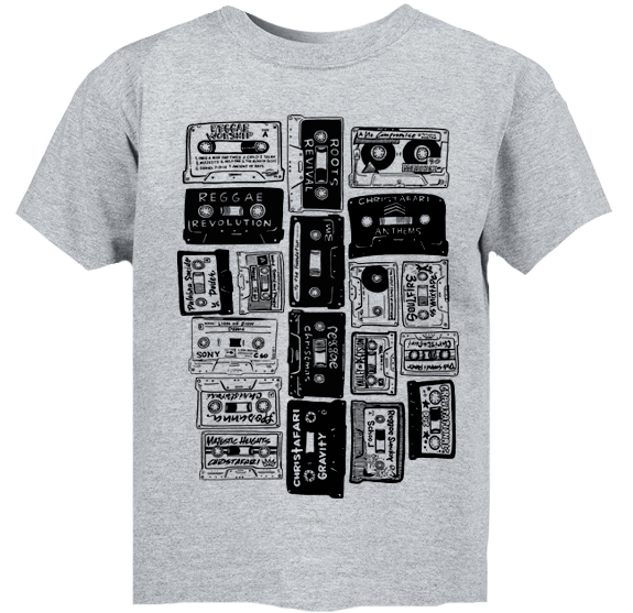 GRAY- Men's Cassette T-shirt