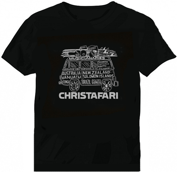 [T-Shirt]: BLACK - Men's Christafari - Musicanaries Bus - Gray design