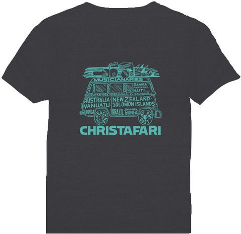 [T-Shirt]: GRAY - Men's Christafari - Musicanaries Van - Aqua Design