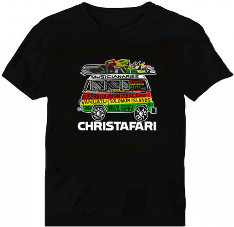 [T-Shirt]: BLACK - Men's Christafari - Musicanaries Reggae Bus - Red Gold and Green