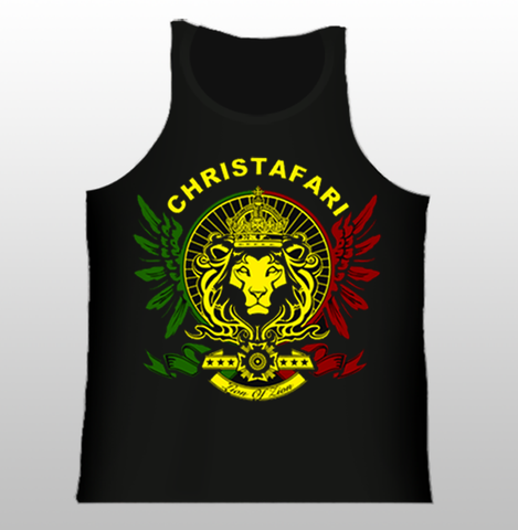 [T-Shirt]: BLACK TANK TOP Regal Lion Wings - Red, Gold, Green