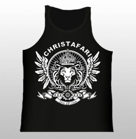 [T-Shirt]: BLACK TANK TOP Regal Lion Wings - White Design