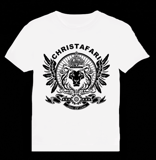 [T-Shirt]: WHITE - Men's Christafari - Regal Lion Wings - Black