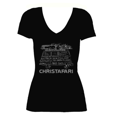 [T-Shirt]: BLACK Women's Christafari Musicianaries Van - Gray Design