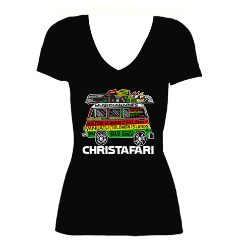 [T-Shirt]: BLACK Women's Christafari Musicianaries Van - Red Gold Green Design
