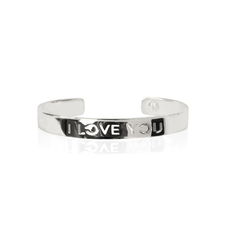 Rhodium Plated I love You Bracelet Bangle by Cristina Ramella