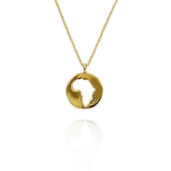 24K Gold Plated World Africa Necklace by Cristina Ramella