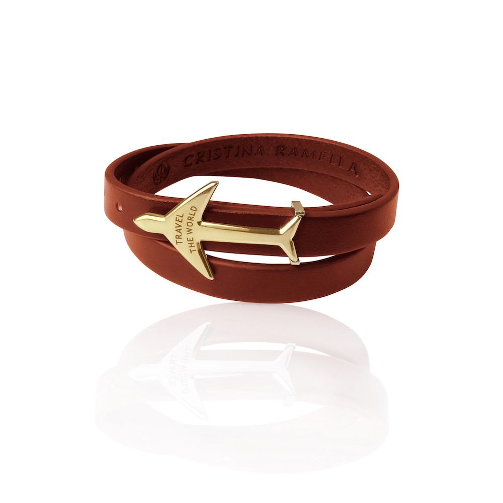 Brown Leather Airplane Bracelet