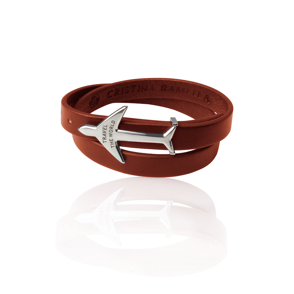 Rhodium Plated Brown Leather Wrap Airplane Bracelet by Cristina Ramella