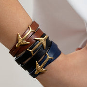 24K Gold Plated Leather Wrap Airplane Bracelets by Cristina Ramella