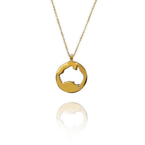 24K Gold Plated World Australia Necklace by Cristina Ramella