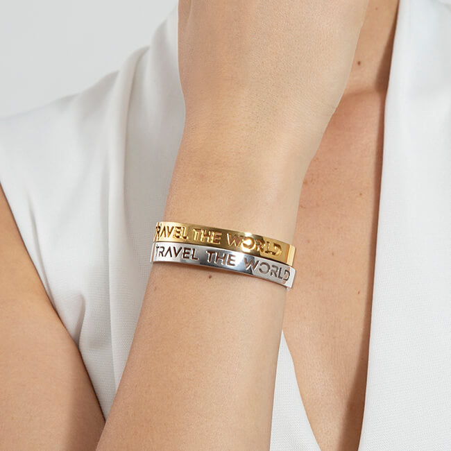 24K Gold and Sample 24K Gold and Rhodium Plated Travel the World bracelet by Cristina Ramella