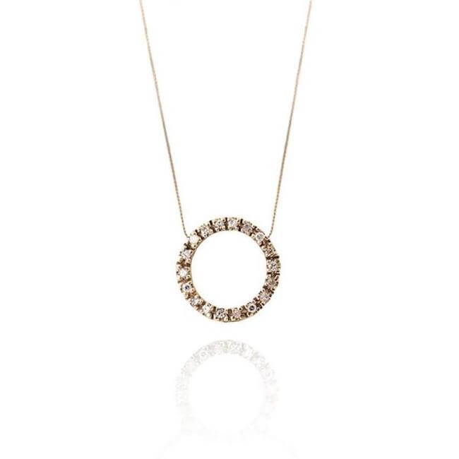 14K Gold with diamonds Circle Necklace by Cristina Ramella