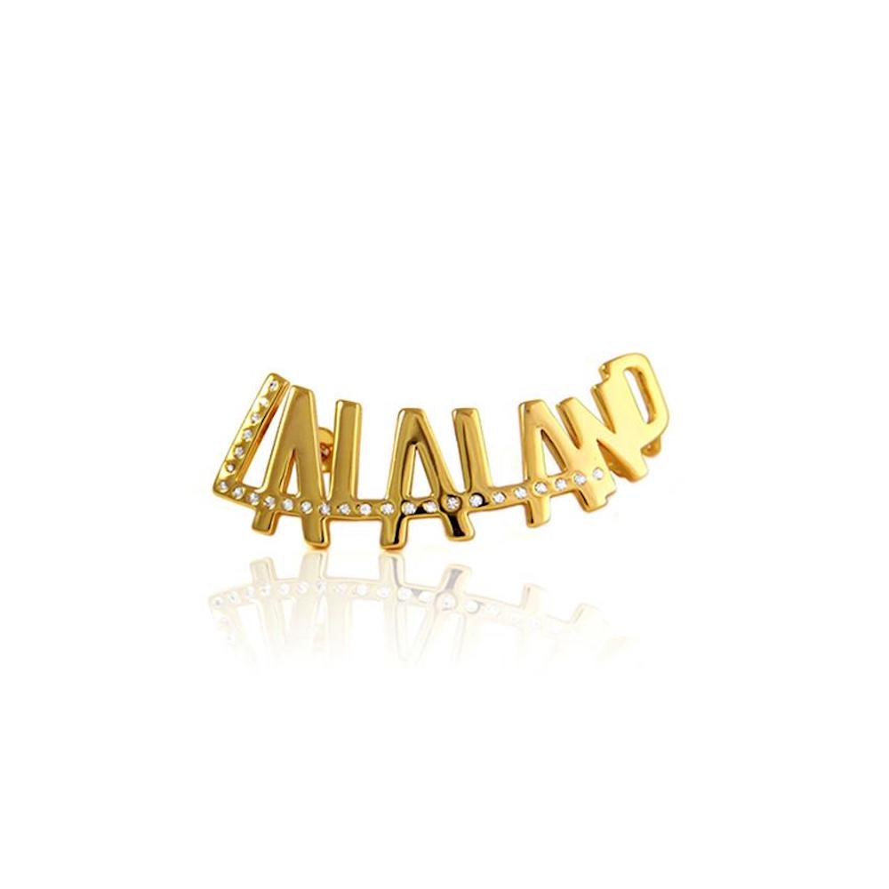 24K Gold Plated LALALAND typography with Crystals by Artelier