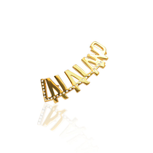 24K Gold Plated LALALAND typography with Crystals by Cristina Ramella